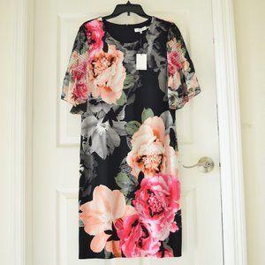 CALVIN KLEIN Shirred Floral Sheath Dress Large